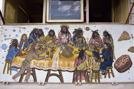 last supper painted on a rasta