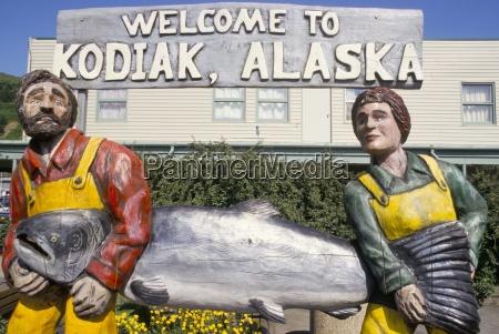 welcome sign kodiak island kodiak alaska