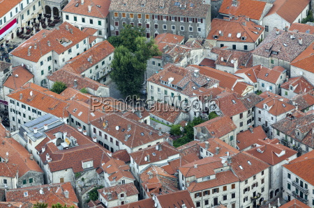 telephoto view of kotor old town