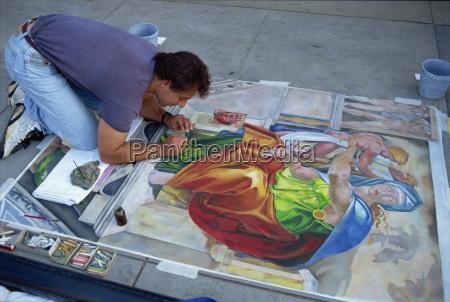 sidewalk artist santa monica california united