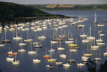 yachts at anchorage falmouth cornwall england