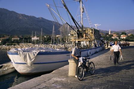 fishing boat orebic peljesac peninsula croatia