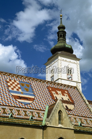 close up of tile roof with