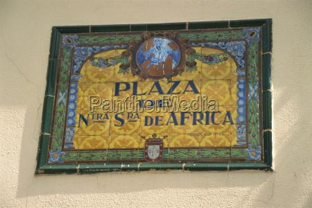 ceramic tile plaque in main square