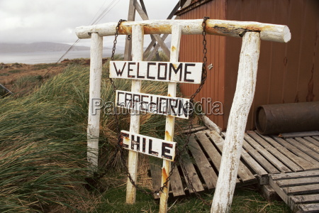 welcome sign cape horn island chile