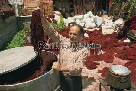 dyeing wool in outdoor bazaar konya