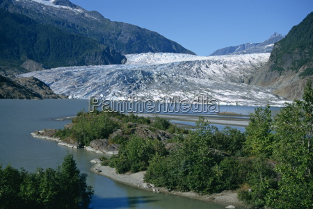 glacier flowing from the juneau icefield