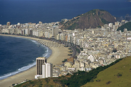 overlooking copacabana beach from sugarloaf sugar
