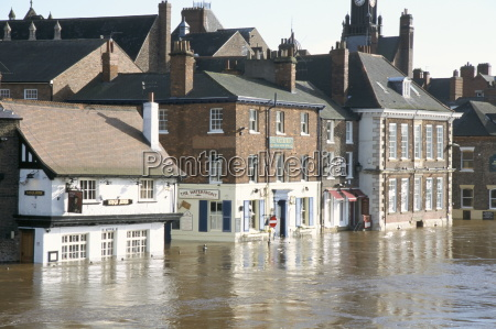 flooded street in 2002 york yorkshire