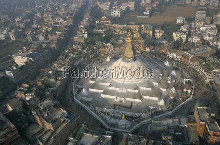 aerial view of boudhanath stupa kathmandu