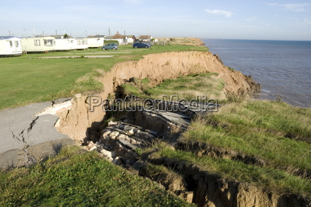 coast erosion with active landslips in