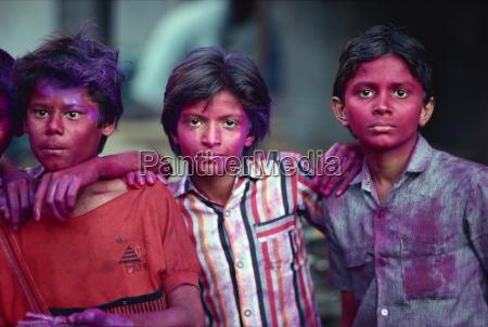boys during the holi festival celebrations
