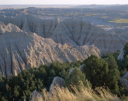 view over eroded landscape badlands national