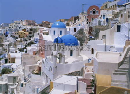 view over the blue domes and