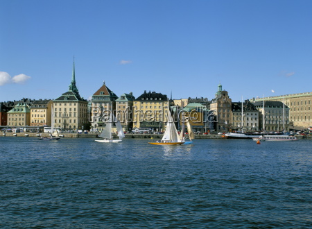 gamla stan and sailboats stockholm sweden