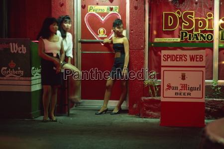 doorgirls at nightclub entrance in hotel