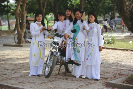 group of college girls wearing traditional