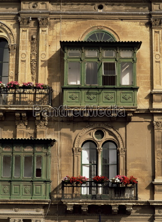 old windows in valletta malta europe