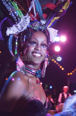 a showgirl during a performance at
