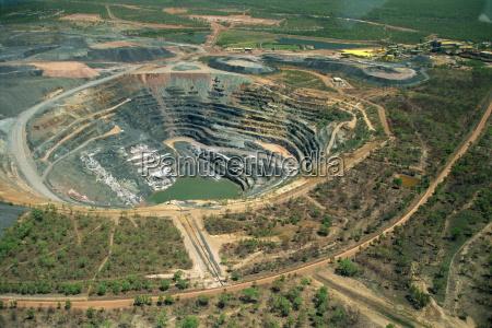 aerial of ranger uranium mine in