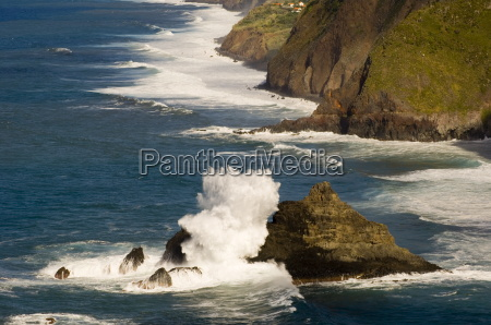 waves pounding the cliffs on the