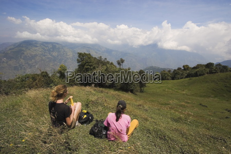 hikers enjoy the view on the