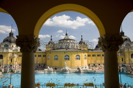 the szechenyi baths on a summer