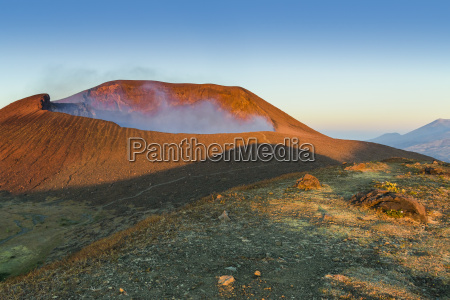 smoking 700m wide crater of volcan