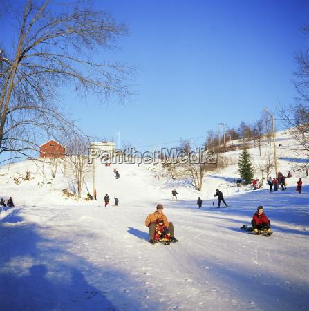 sledging for fun near oslo norway