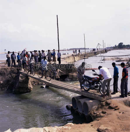 temporary bridge in the aftermath of