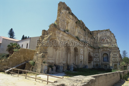 ruins of the church after the