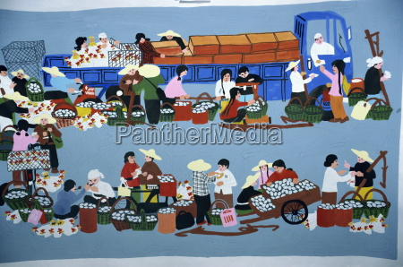 huxien paintings of a market scene