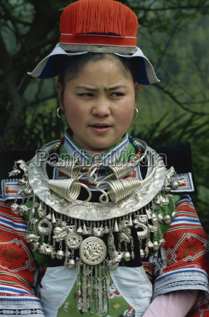 gejia in festival costume with silver