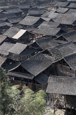 typical dong village near rongjiang guizhou