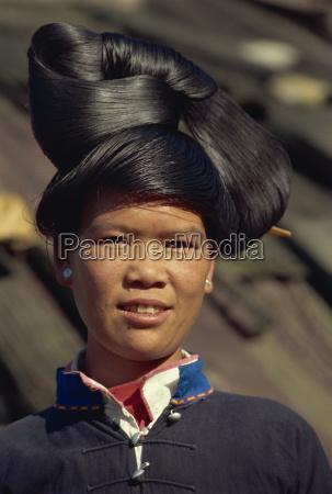 miao girls hairstyle guizhou province china