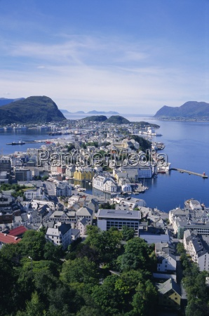 view from aksla over alesund romsdal