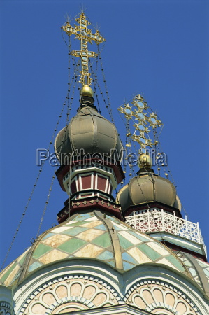 close up of domes and crosses