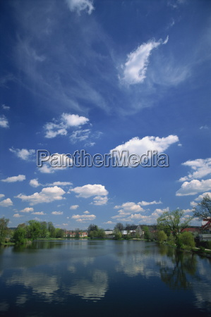 clouds reflected in a tranquil fishpond