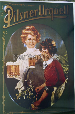 old beer poster plzen west bohemia