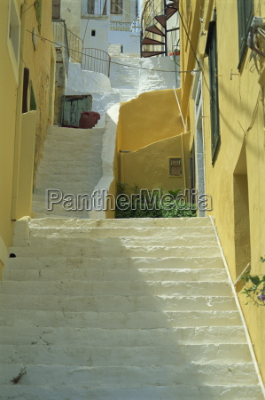staircases between houses yialos symi simi
