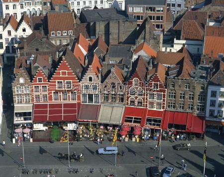 aerial view of cafe facades market