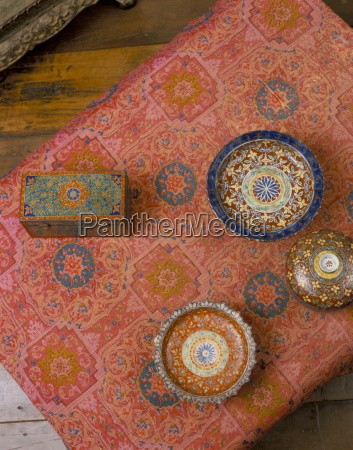 overhead view of bencharong ceramics and