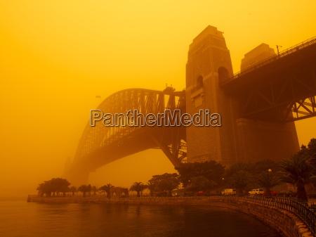 sydney harbour bridge during red dust
