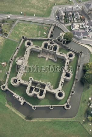 aerial view of beaumaris castle unesco
