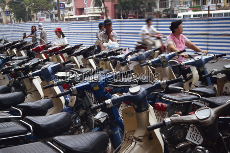 rows of motorcycles parked in ho