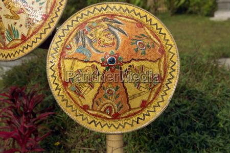 painted rattan besakih temple bali indonesia