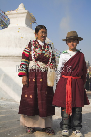 tibetan mother and son in traditional