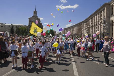 ukrainian childrens day parade in khreschatyk