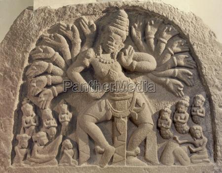 dancing 16 armed shiva cham art