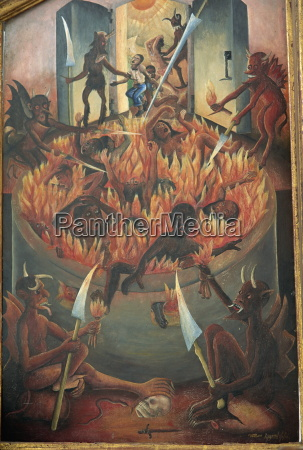 vision of hell tryptych panel painted